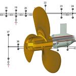 Cargo vessel's propulsion system torsional vibration calculation